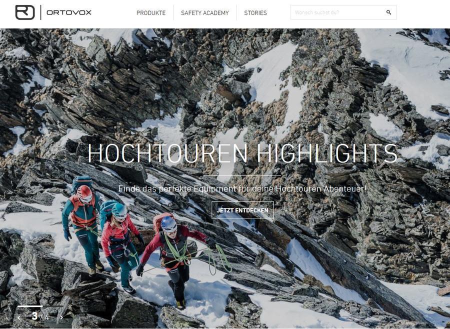 Ortovox homepage
